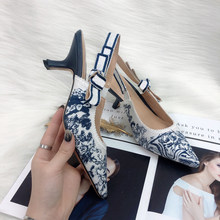 Décolleté ricamate Color Block moda donna sandali di marca firmati da donna solette in pelle di montone punta a punta tacchi alti scarpe 2020