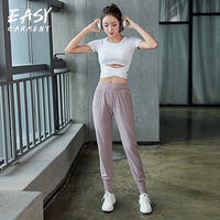 Women Clothing Trousers + Shirts Sport 2 Pcs Set Sexy Breathable Gym Run High Waist Long Sleeve Tracksuit Active Wear