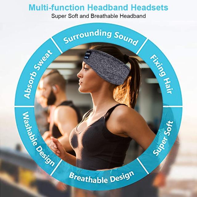 Wireless Bluetooth Sleeping Headphones Sports Headband Soft Elastic Comfortable Music Headset Speakers Hands-free For Running 6