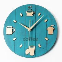Creative 3D Wall Clock Modern Design Coffee Kitchen Clocks Vintage Retro Art Tableware Wall Watch Home Decor Silent 12 inch