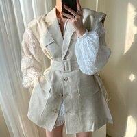 Sexy Kleid Koreanische Chic Temperament Rundhals Plissee Blase Hülse Frauen Revers Einreiher Anzug Weste Mit Gürtel