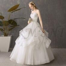 SERMENT  Appliques Pearls Vintage White High Waist Wedding Dresses Strapless Bridal Ball Gowns Simple Dress