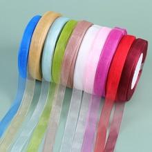 1Roll 45M Lace Ribbons Color Organza Ribbon Christmas Wedding DIY Gift Packaging Decoration Ribbons