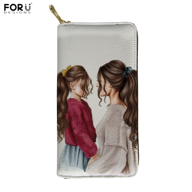 FORUDESIGNS Black Brown Hair Girl Super MaMa Print PU Purses Fashion Women Christmas Gift Leather Wallets Waterproof Clutch Bags
