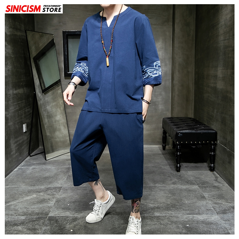 Sinicism Store Men's Sets Embroidery Chinese Style Summer Loose Tracksuit Mens 2020 Casual Cotton Linen Suit Male Clothing 5XL