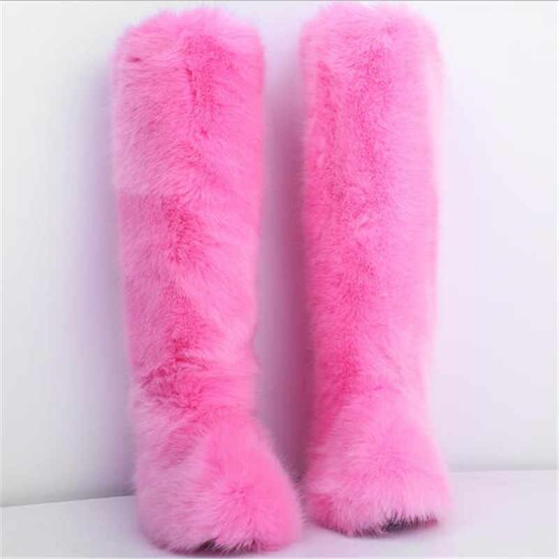 ผู้หญิงฤดูหนาว Faux FUR Snow รองเท้าผู้หญิงอบอุ่น Furry รองเท้าผู้หญิงข้อเท้ารองเท้าผู้หญิงแพลตฟอร์ม Botas Mujer สีขาว /รองเท้าสีดำ