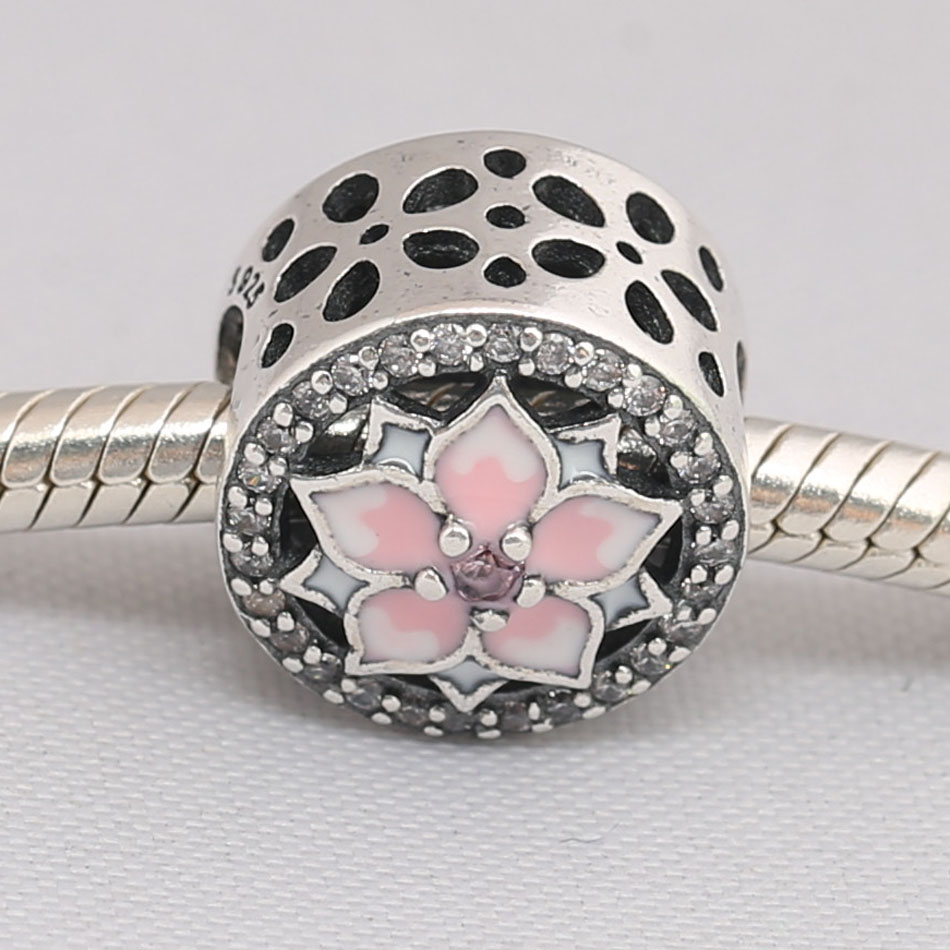 Authentic S925 Silver Bead DIY Jewelry Flower Bloom Charms fit Pandora Bracelet Girl Lady Birthday Gift Enamel & Pink CZ(China)