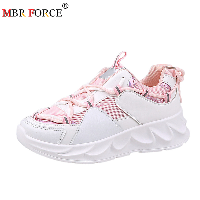 MBR FORCE Fashion Women Flat Shoes Breathable Casual High Quality Comfortable Chunky Sneakers 2020 Zapatos Mujer Platform Shoes