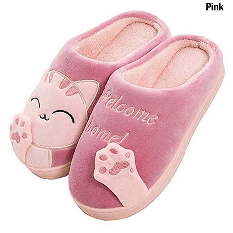 Женские зимние теплые домашние тапочки, обувь для пар, женские плюшевые слипоны с котом, мягкая удобная домашняя обувь для женщин и мужчин размера плюс Тапочки      АлиЭкспресс
