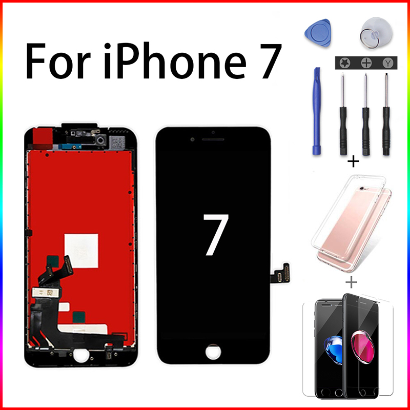Black/White Pantalla For IPhone 7G A1660 A1778 A1779 A1780 3D Assembly Digitizer Touch Screen No Dead Pixel LCD With Screwdriver