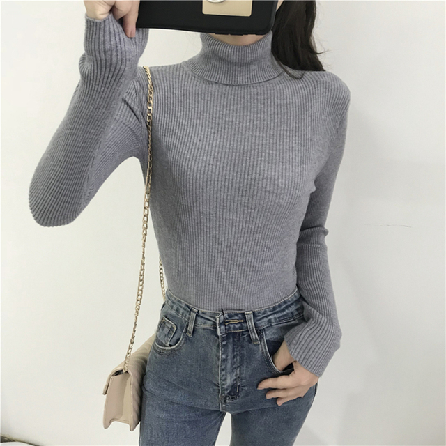 Fashion Women 2019 Korean Winter Clothes Turtleneck Scarf Collar Sweater Rolls Woman High Neck Sweater Black Knitted Slim Shrug