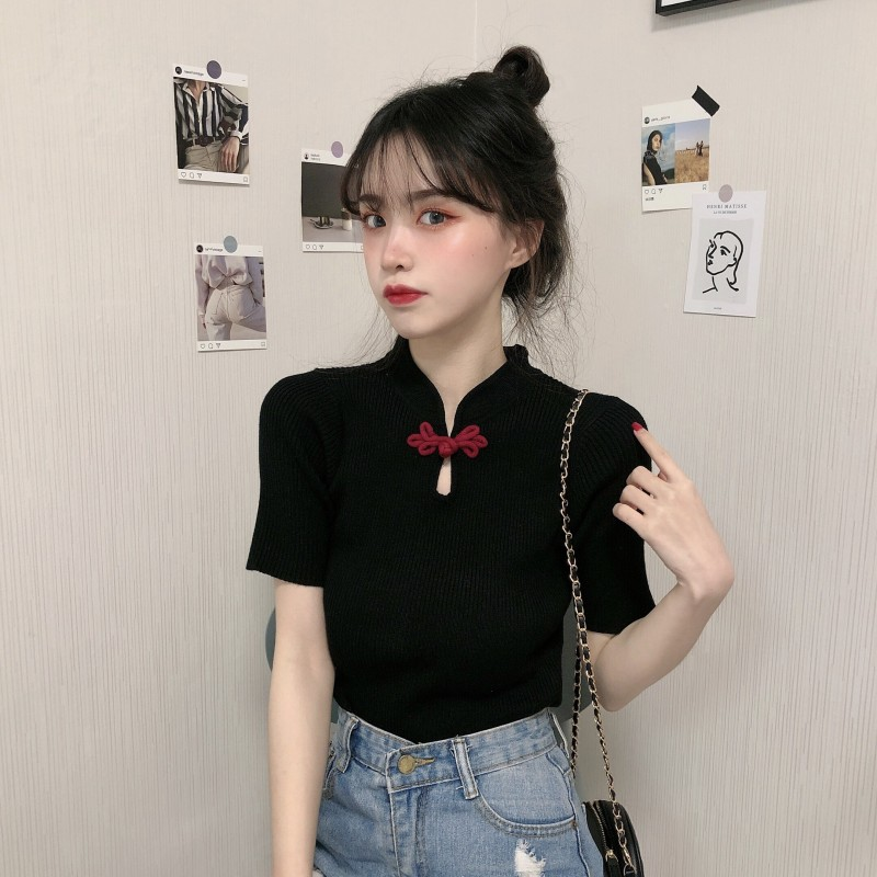 Korean Chic Summer New Tee Women Short Sleeve Slim Chinese Knot Design Tops Basic Solid Color TShirts Casual Knitting T-Shirt image