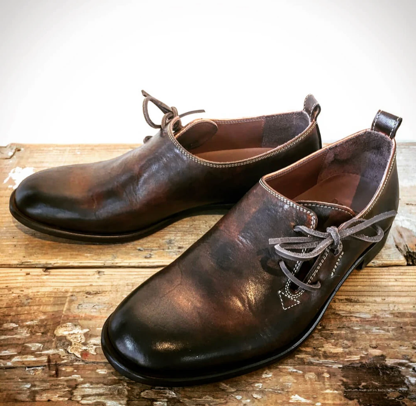 Handmade Men Vintage Casual Lace-up Slip-on Shoes  Brogue Shoes Spring Ankle Boots Vintage Classic Male Casual   F230