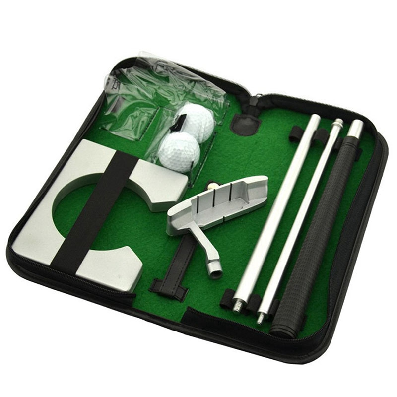 ABZB-Portable Golf Putter Putting Trainer Set Indoor Training Equipment Golfs Ball Holder Training Aids Tool With Carry Case