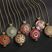 New Aromatherapy Diffuser Necklace Vintage Flower Butterfly Open Locket Aroma Pendant Perfume Essential Oil Diffuser Necklace