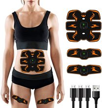 ABS Stimulator with 8pcs Gels Pads EMS Abdominal Muscle Stimulator Trainer Wireless Leg Arm Belly Exercise At Home Gym Recharge