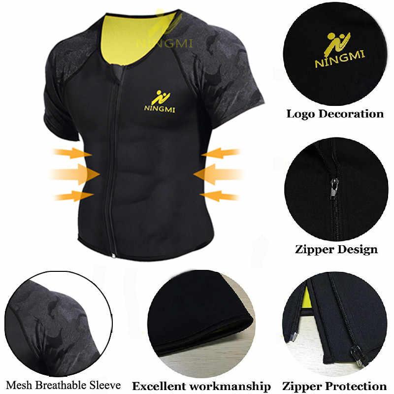 Camiseta deportiva NINGMI Body Shaper adelgazante cintura entrenador hombres camiseta sin mangas de neopreno Sauna Chaleco con cremallera malla Shapewear chaqueta de calentamiento