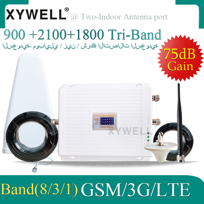 High Gain Three 4G Antennas 4G Signal Booster 900 1800 2100 Tri-Band Booster 2G 3G 4G LTE 1800 Cellular Mobile Signal Repeater