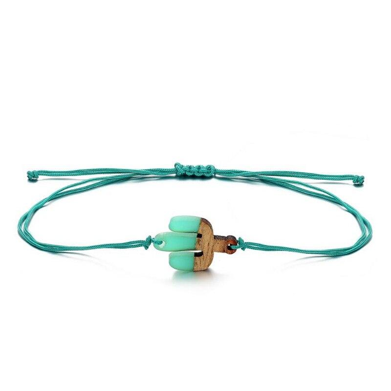 Bohemian Wooden Heart Charm Rope Bracelet For Women Men Lovely Resin Round Blue Cactus Bracelets Beach Jewelry Adjustable Gift