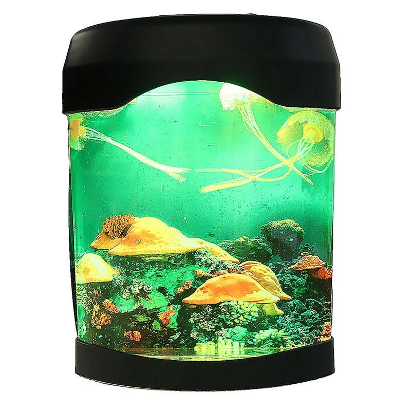 LED Light Jellyfish Tank Sea World Swimming Mood Lamp Night Light Aquarium Nightlight Festival Home Decor Light Bedroom
