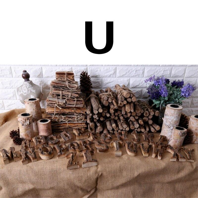 Вместе с коры твердой древесины Ретро Деревянный Английский алфавит номер для кафетерий украшение для дома, ресторана винтажная самодельная буква - Цвет: U