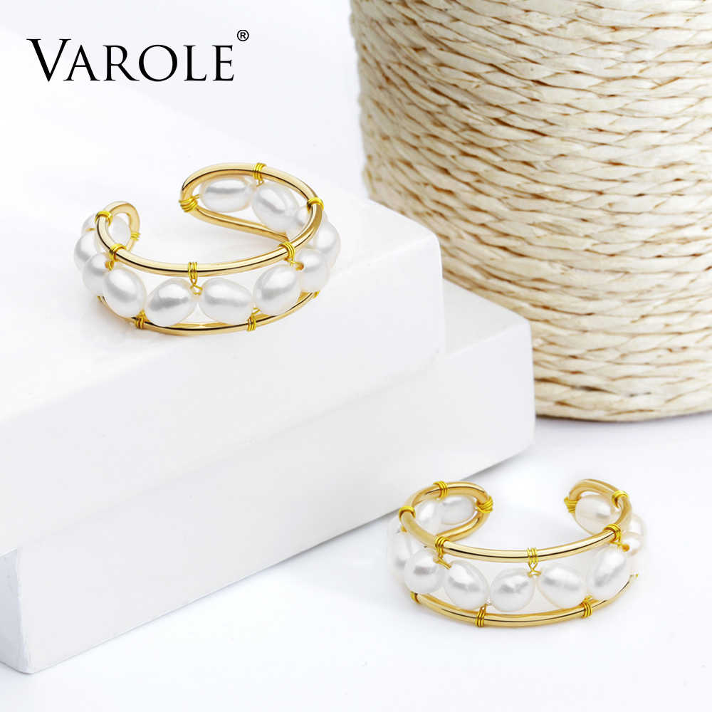 Image 3 - VAROLE Natural Pearls Ring Handmade Gold Color Rings For Women Accessories Finger Fashion Jewelry GiftsRings   -