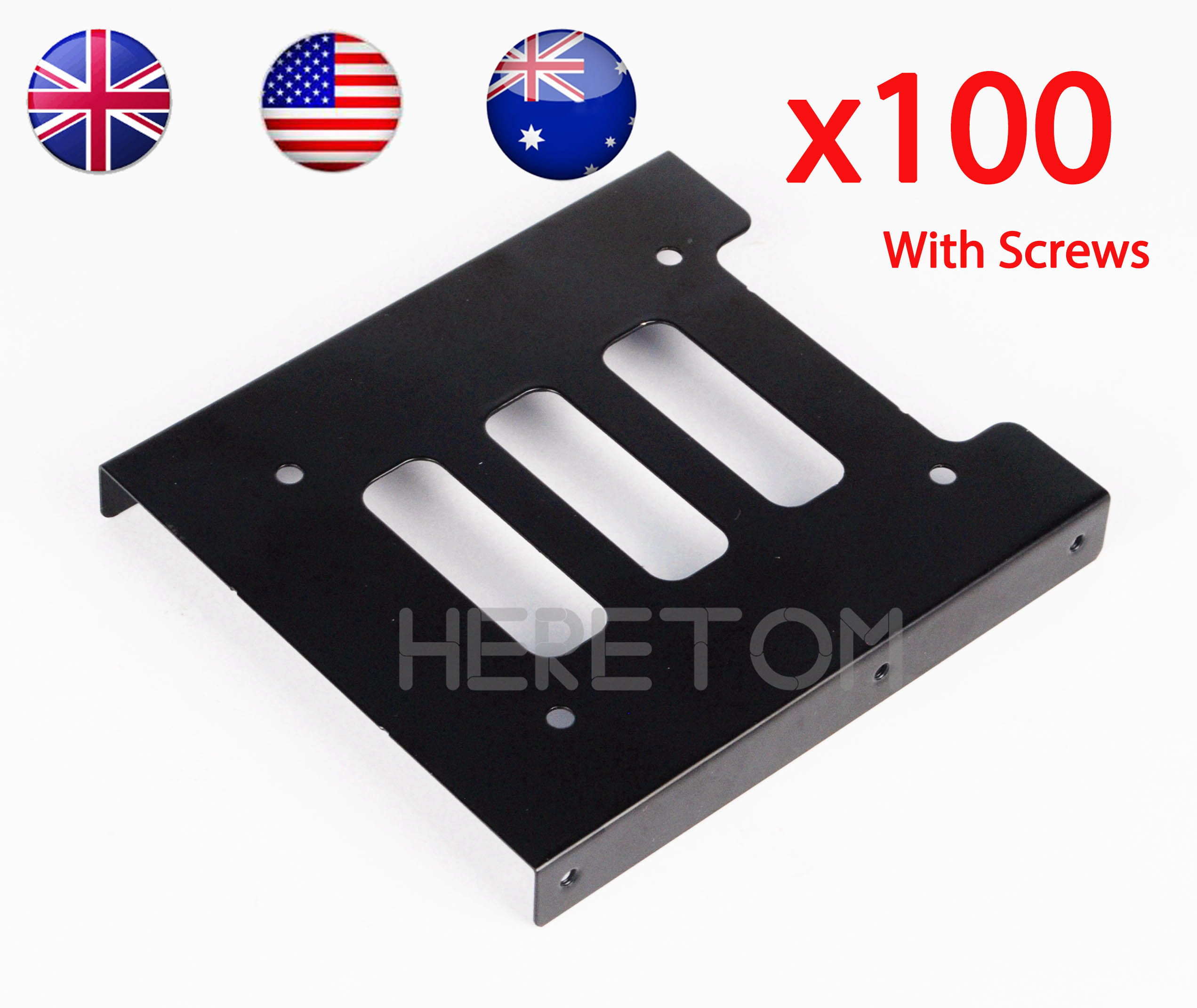 100PCS 2.5 In SSD HDD To 3.5IN Metal Mounting Adapter Bracket Dock Hard Drive Holder For PC Hard Drive Enclosure Ship@US UK AU