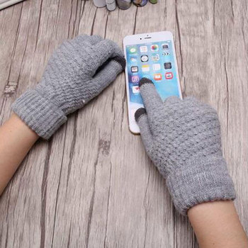 Women's Cashmere wool Knitted Gloves Winter Warm thick touch screen gloves Solid Mittens for Mobile Phone Tablet Pad