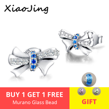 2019 Delicate 100% 925 Sterling Silver Sparkling Bowknot Stud Earrings With Clear CZ Women Party Luxury Jewelry Free shipping цена