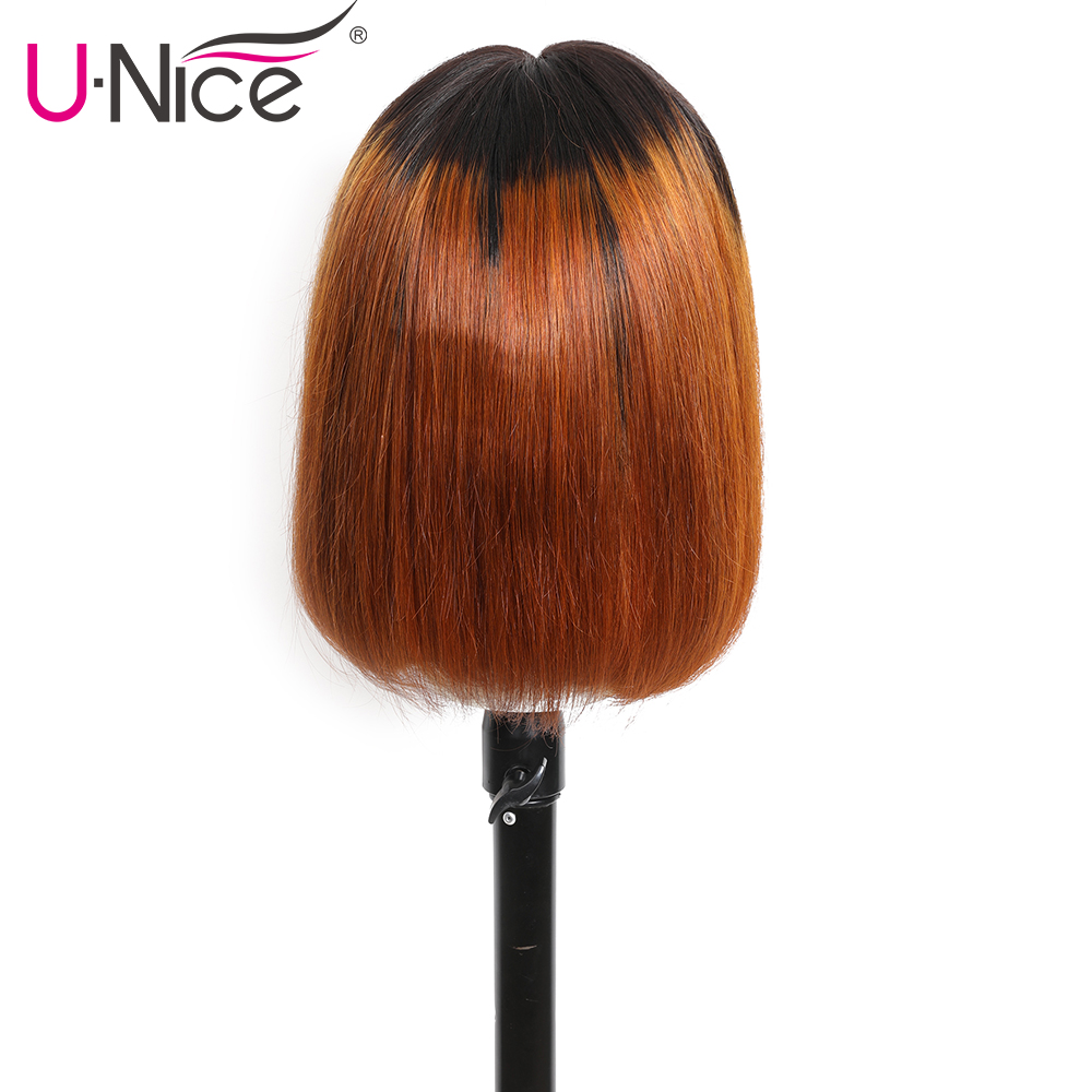 H9e7618a2754e4848bbb44bdb7e65e49bz Unice Hair 13*4 Straight Bob Ombre T1B30 Human Hair Wigs 8-14 Inch Pre Plucked Remy Hair Lace Front Wig