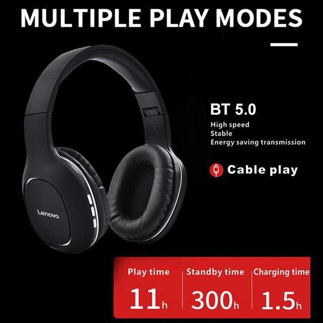 سماعات لينوفو HD300 الجديدة اللاسلكية Bluetooth5.0 قابلة للطي على الأذن سماعة الرياضة الموسيقى سماعة دعم TFCard مع ميكروفون