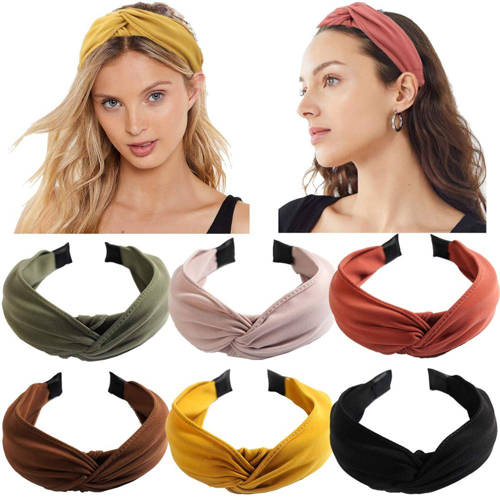 Wide Solid Knot Headbands 6pcs Vintage Women Girls Elastic Hair Bands Accessory
