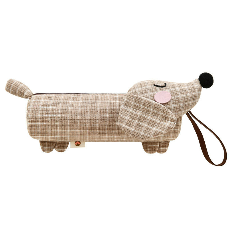 Three-color Patch Dachshund Dog Pencil Bag Creative Simple Pencil Bag Large Capacity Cute Male And Female Student Stationery Bag