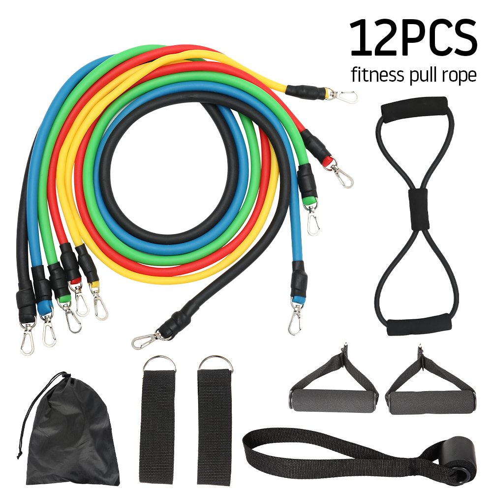 11/12pcs Resistance Bands Set Fitness Pull Rope Home Elastic Exercises Body Fitness Workout Latex Tubes Strength Gym Equipment
