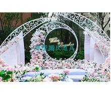 цены The new type of wedding props iron carving arc horn arch large wedding stage background decoration screen decoration piece