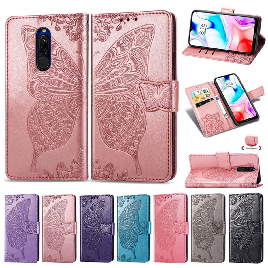 3D Butterfly Emboss Flip Case For Xiaomi Redmi 8 8A PU Leather Wallet Cover Phone Case For Xiaomi Redmi 8 8A Case Cover