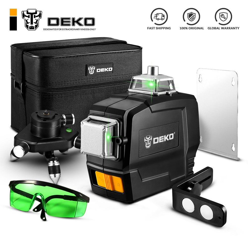DEKO DKLL12PB 12 Lines 3D Green Laser Level Horizontal And Vertical Cross Lines With Auto Self Leveling Indoors and Outdoors|Laser Levels|   - AliExpress
