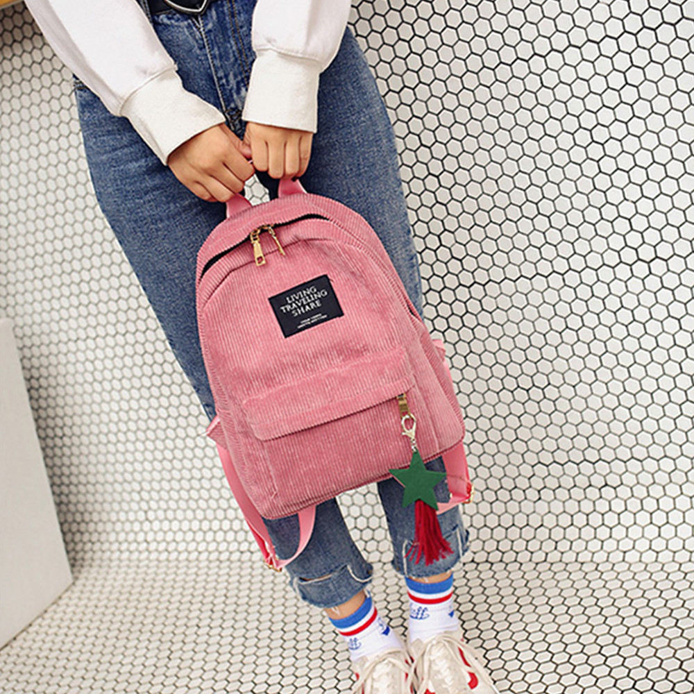 High student Women's Fashion Canvas Tassel School Bags Travel Backpack Bag Solid backpack school bags for teenage College Large image