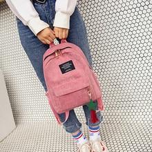 High student backpack Women's Canvas Tassel School Bags Trav
