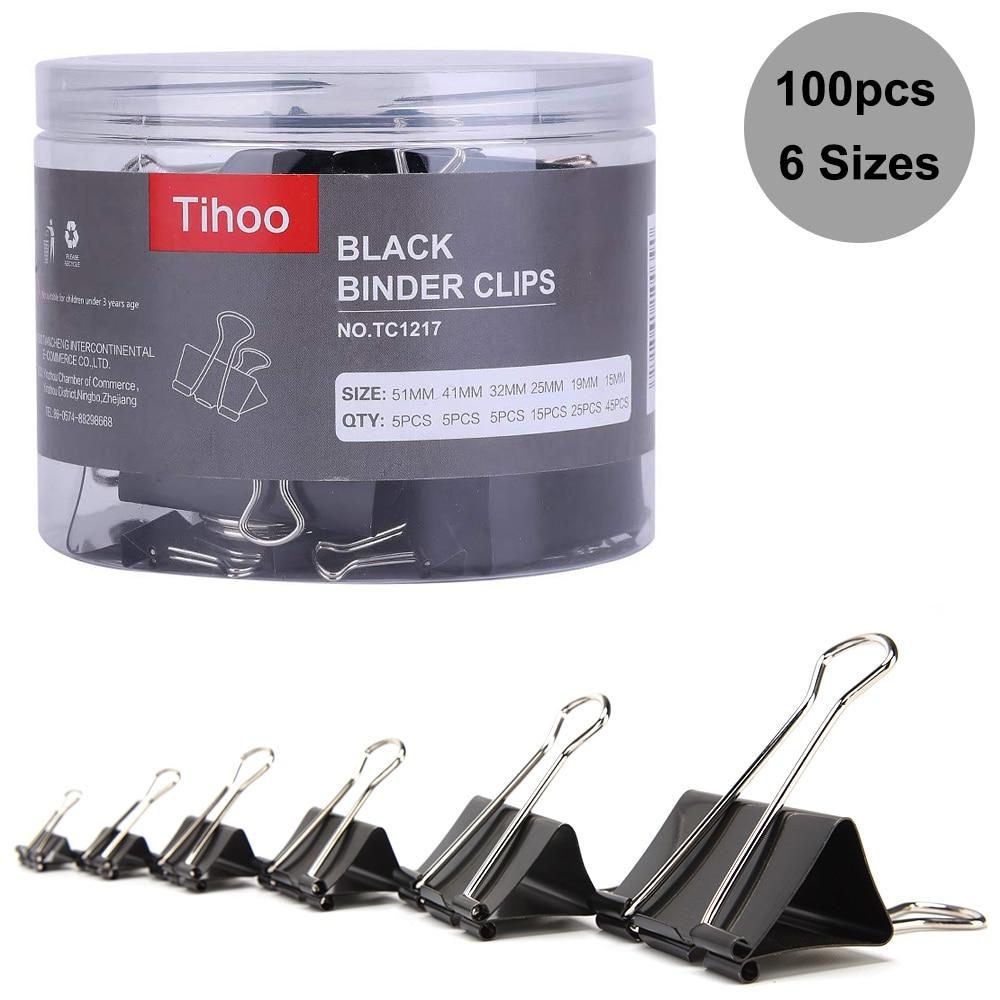 Tenwin 100PCS/lot Paper Binder Clips 41/32/25/19/15mm Foldback Metal Black Grip Clamps Office School Stationery Paper Document