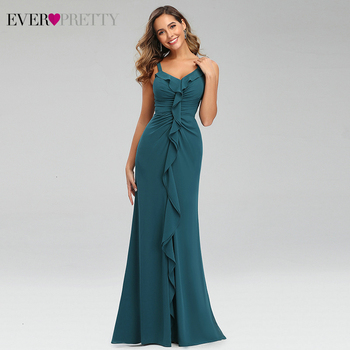 Sexy Teal Prom Dresses Ever Pretty Ruffles V-Neck Spaghetti Straps Ruched Simple Chiffon Mermaid Party Gowns Vestido Largo Gala 1