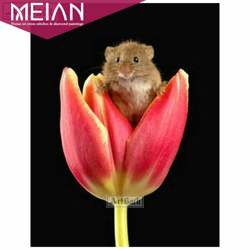 2020 Meian Bunga 5D Lukisan Berlian Tulip Di Mouse Penuh Bunga DIY Diamond Mosaik Hadiah Bordir Cross Stitch Kit Home dekorasi