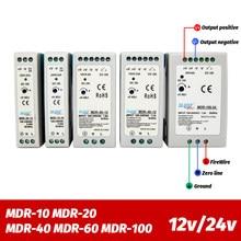 Industrial mini AC/DC Din rail power supply switch MDR-10W 20W 40W 60W 100W Single output Switching 12V 24V source