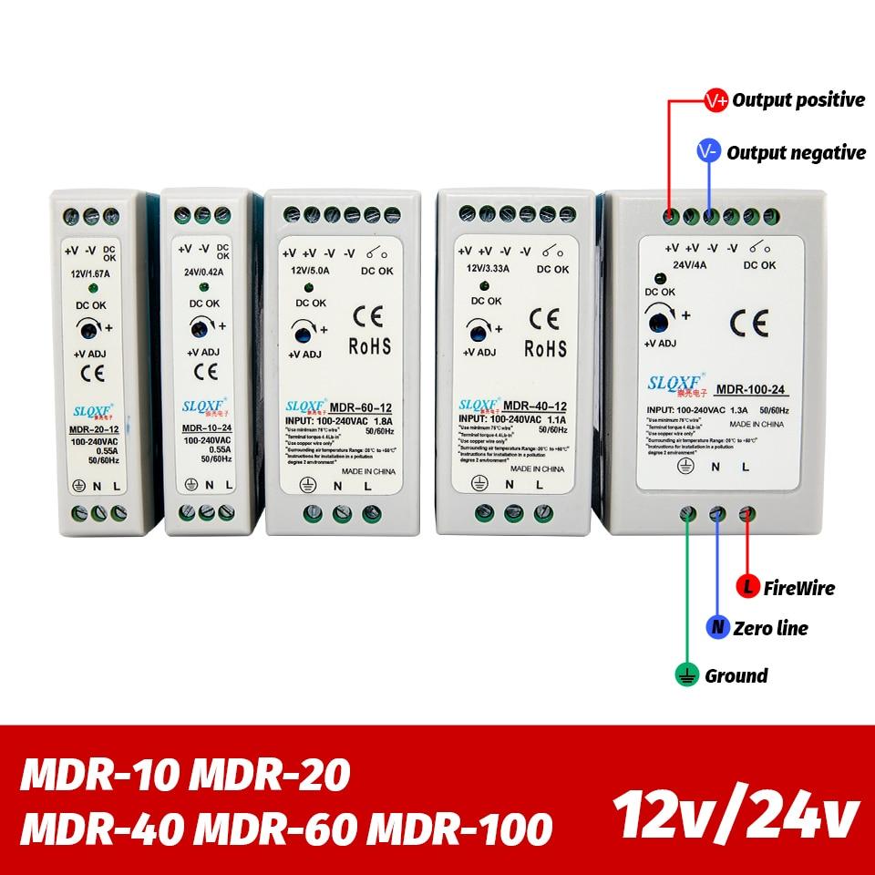Miniinterruptor de fuente de alimentación de carril Din AC/DC, Industrial, MDR 10W, 20W, 40W, 60W, 100W, conmutación de salida única, 12V, 24V|Fuente de alimentación de conmutación|   -