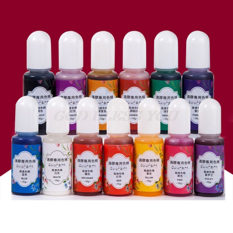 13 Colors Epoxy UV Resin Coloring Dye Liquid Epoxy Pigment Resin Colorant Fading Resistance10ml Translucent Make Jewelry Pigment
