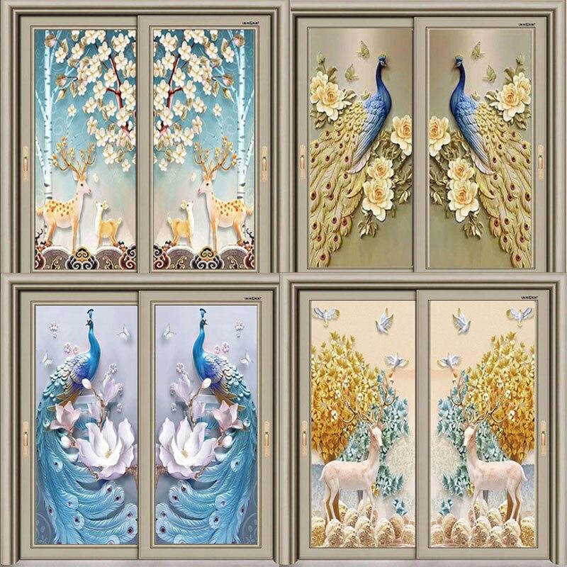 Peacock Door Stickers Self-adhesive Decoration Kitchen Bedroom Wardrobe Glass Door Film Wallpaper Waterproof Stickers Corridor