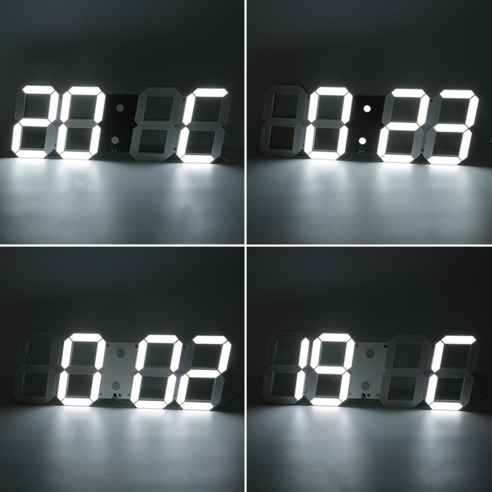 1 шт. большие 3D современные цифровые светодиодный настенные часы 24/12 час дисплей Таймер Будильник - 6