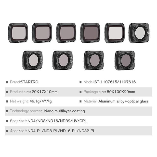 Mavic Air 2 Drone Filter ND Filter Wasserdichte Optische Glas Für DJI Mavic Air 2 Kamera Zubehör UV + CPL + ND4/8/16/32 NDPL Set