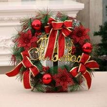 Новые Вечерние рождественские венки из сосны пуансеттия, настенные гирлянды для двери, рождественские украшения для дома, аксессуары