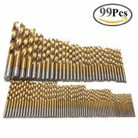 99pcs 1.5mm - 10mm Titanium HSS Drill Bits Coated Stainless Steel HSS High Speed Drill Bit Set For Electrical Drill Tools TP-059